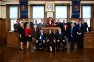 Elected members of the Council with the chief executive and senior officers
