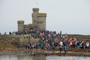 Crowds converge on Conister Rock
