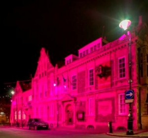 In the pink: Town Hall supports breast cancer charity's campaign