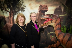 Mayor joins Jurassic japes in town centre