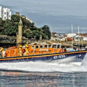 RNLI Lifeboat launching in Douglas