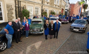 Driving twinning links: Ballymoney Old Vehicle Club members welcomed to town hall